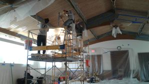 Stripping, Sanding, Staining, & Varnish of Ceiling at Free Mason's Lodge in Highland Park, IL (2)