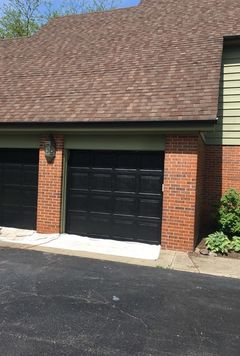 Before & After Solid Stain and  Painted Garage Doors Black in Long Grove, IL (2)