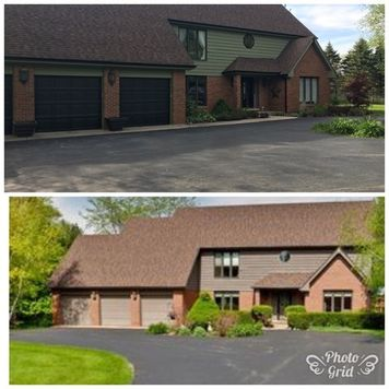 Before & After Solid Stain and  Painted Garage Doors Black in Long Grove, IL (1)